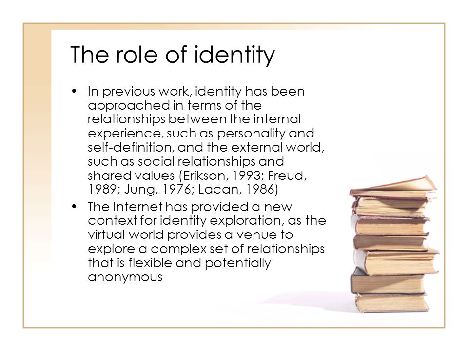The role of identity In previous work, identity has been approached in terms of the relationships between the internal experience, such as personality and self-definition, and the external world, such as social relationships and shared values (Erikson, 1993; Freud, 1989; Jung, 1976; Lacan, 1986) The Internet has provided a new context for identity exploration, as the virtual world provides a venue to explore a complex set of relationships that is flexible and potentially anonymous