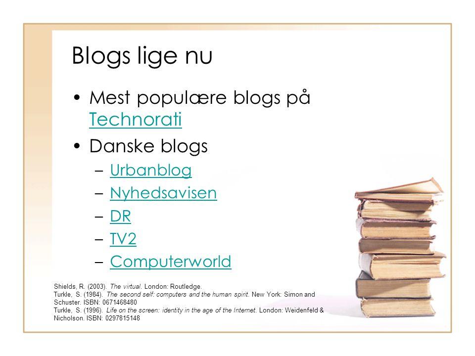 Blogs lige nu Mest populære blogs på Technorati Technorati Danske blogs –UrbanblogUrbanblog –NyhedsavisenNyhedsavisen –DRDR –TV2TV2 –ComputerworldComputerworld Shields, R.