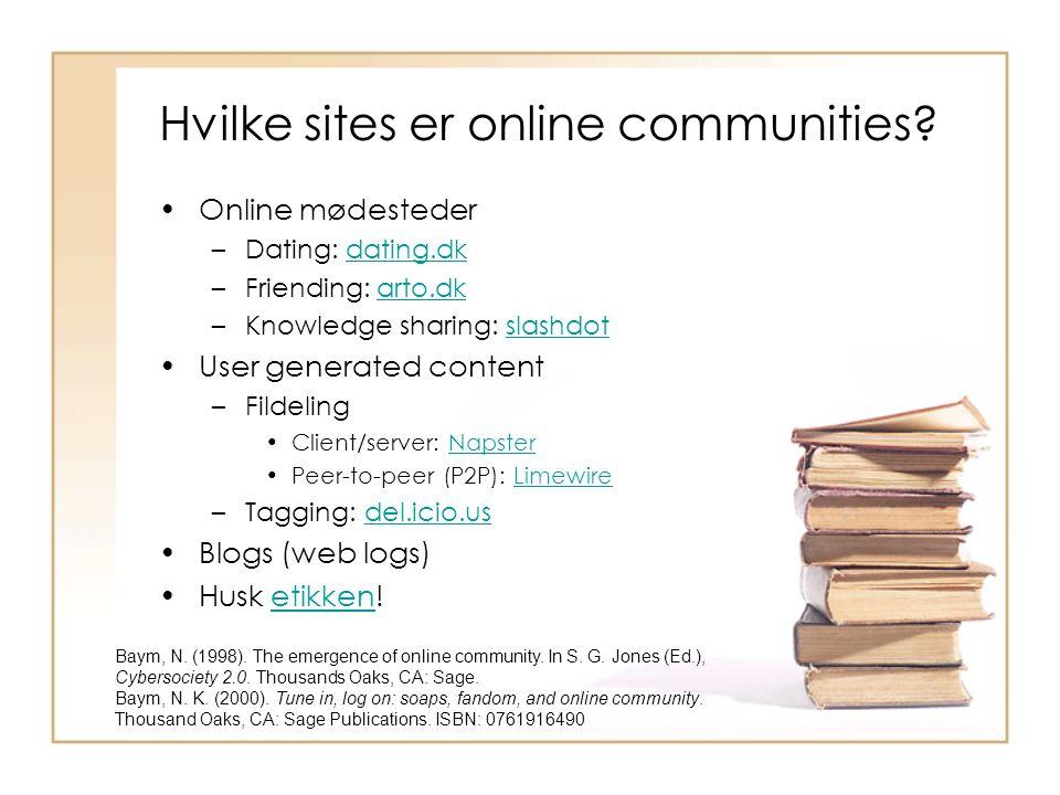 Hvilke sites er online communities.