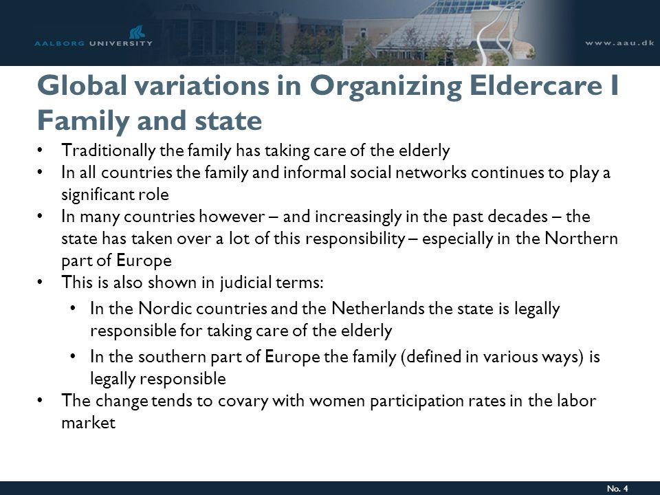 No.5 Global variations in Organizing Eldercare II Financing eldercare: Who pays.