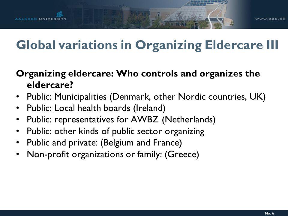 No. 6 Global variations in Organizing Eldercare III Organizing eldercare: Who controls and organizes the eldercare? Public: Municipalities (Denmark, o