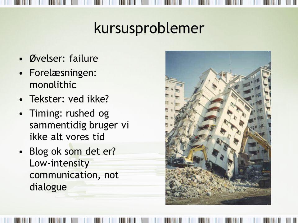 kursusproblemer Øvelser: failure Forelæsningen: monolithic Tekster: ved ikke.