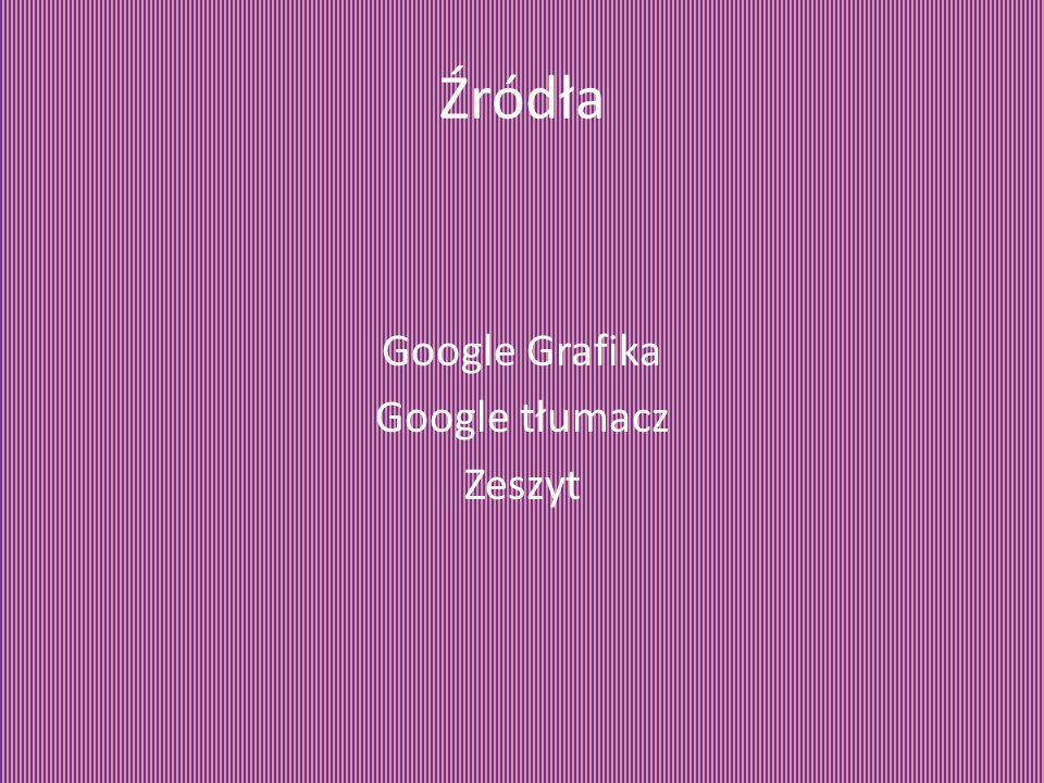 Źródła Google Grafika Google tłumacz Zeszyt