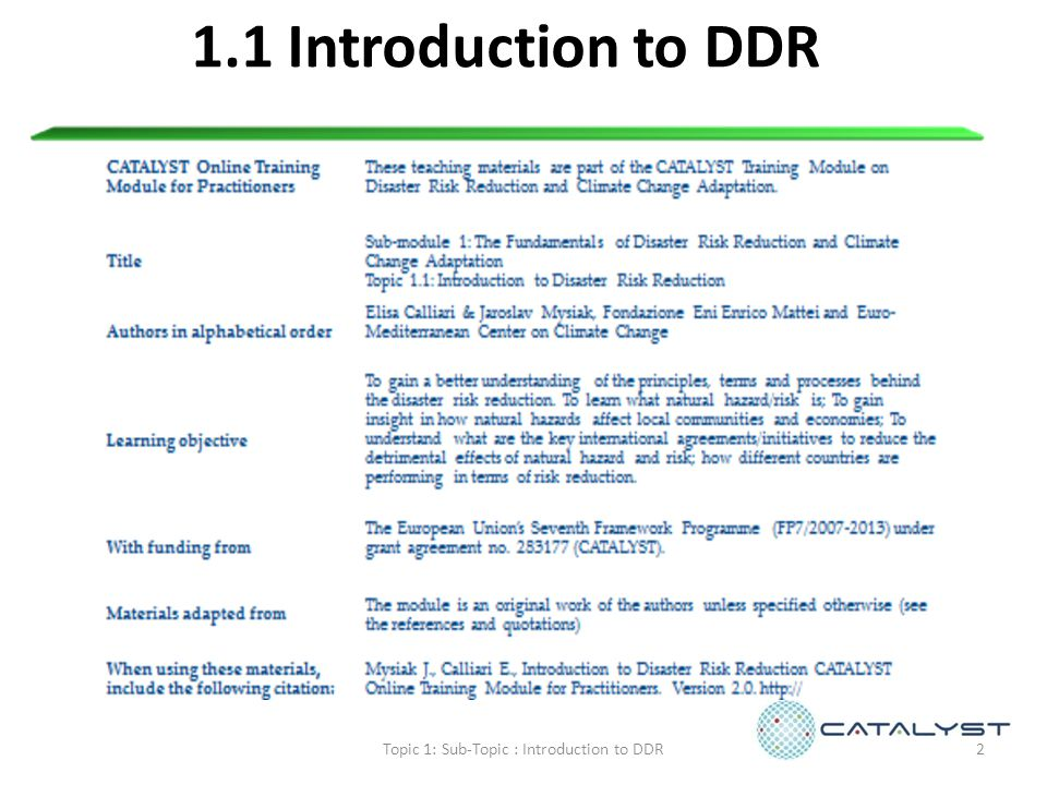 1.1 Introduction to DDR 2Topic 1: Sub-Topic : Introduction to DDR