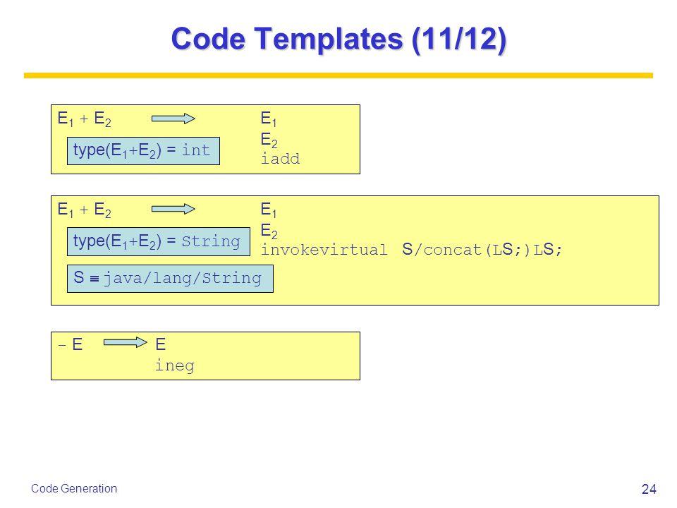24 Code Generation Code Templates (11/12) E 1 + E 2 E 1 E 2 iadd type(E 1 + E 2 ) = int E 1 + E 2 E 1 E 2 invokevirtual S /concat(L S ;)L S ; type(E 1 + E 2 ) = String S  java/lang/String - E E ineg
