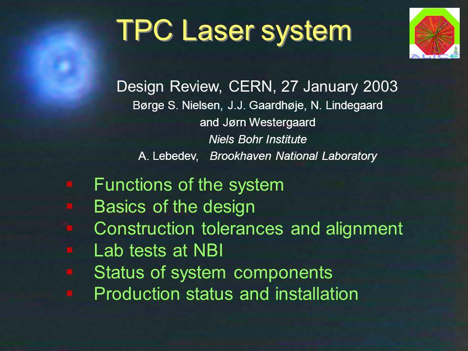 Laser Design Review, CERN, 27 Jan 2003Børge Svane Nielsen, NBI1 TPC Laser system  Functions of the system  Basics of the design  Construction toler