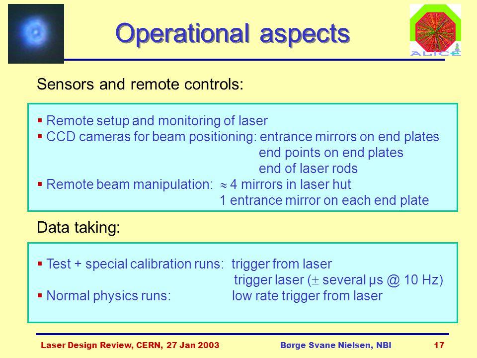 Laser Design Review, CERN, 27 Jan 2003Børge Svane Nielsen, NBI17 Operational aspects Sensors and remote controls:  Remote setup and monitoring of las