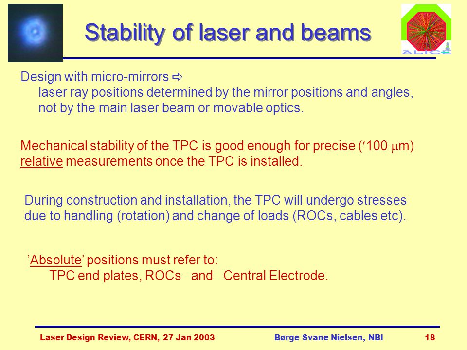 Laser Design Review, CERN, 27 Jan 2003Børge Svane Nielsen, NBI18 Stability of laser and beams Design with micro-mirrors  laser ray positions determin