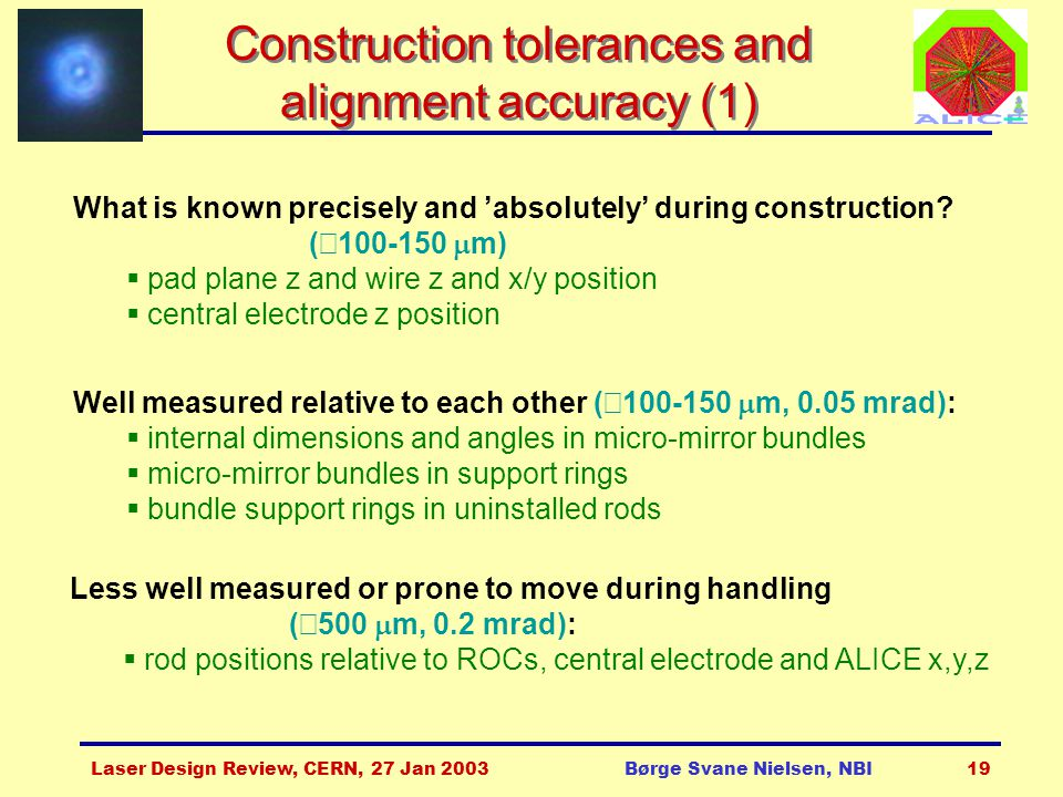 Laser Design Review, CERN, 27 Jan 2003Børge Svane Nielsen, NBI19 Construction tolerances and alignment accuracy (1) What is known precisely and 'absol