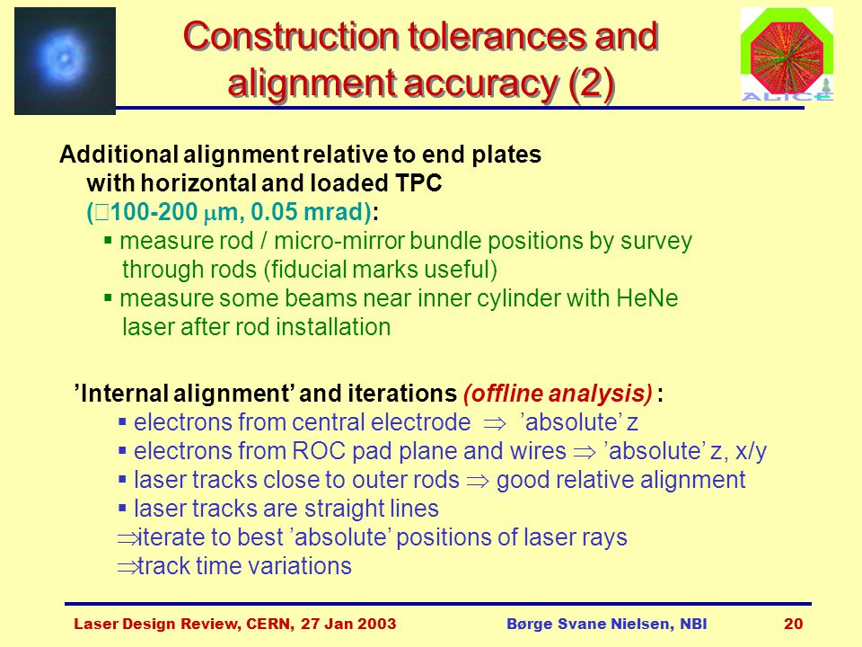 Laser Design Review, CERN, 27 Jan 2003Børge Svane Nielsen, NBI20 Construction tolerances and alignment accuracy (2) 'Internal alignment' and iteration