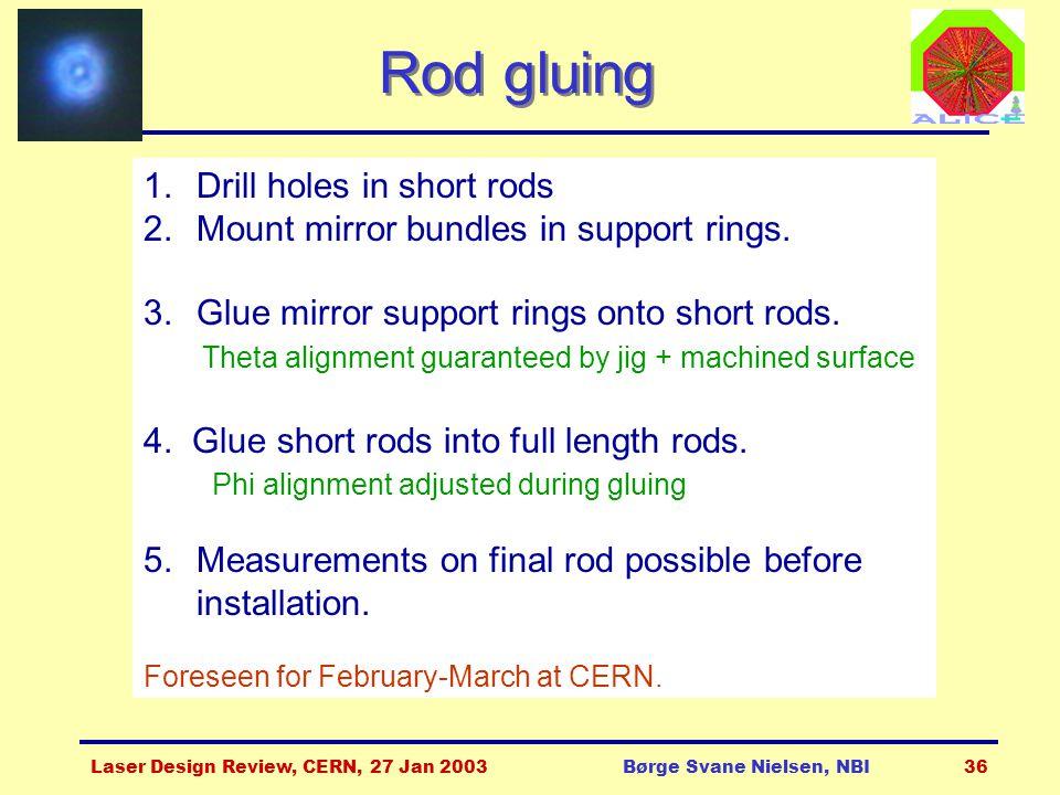 Laser Design Review, CERN, 27 Jan 2003Børge Svane Nielsen, NBI36 Rod gluing 1.Drill holes in short rods 2.Mount mirror bundles in support rings. 3.Glu