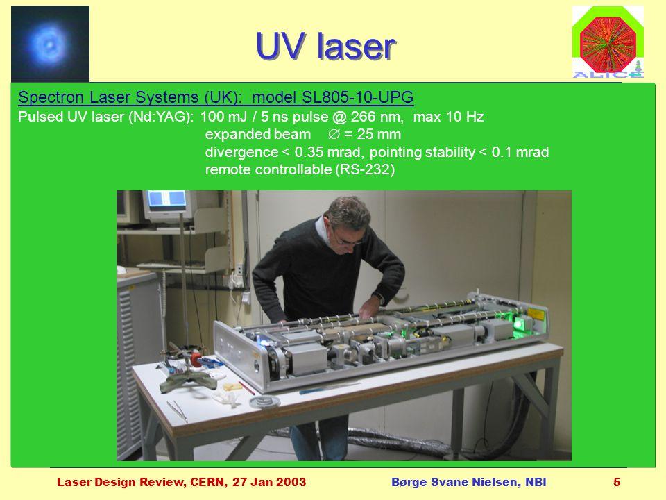 Laser Design Review, CERN, 27 Jan 2003Børge Svane Nielsen, NBI5 Spectron Laser Systems (UK): model SL805-10-UPG Pulsed UV laser (Nd:YAG): 100 mJ / 5 ns pulse @ 266 nm, max 10 Hz expanded beam  = 25 mm divergence < 0.35 mrad, pointing stability < 0.1 mrad remote controllable (RS-232) UV laser