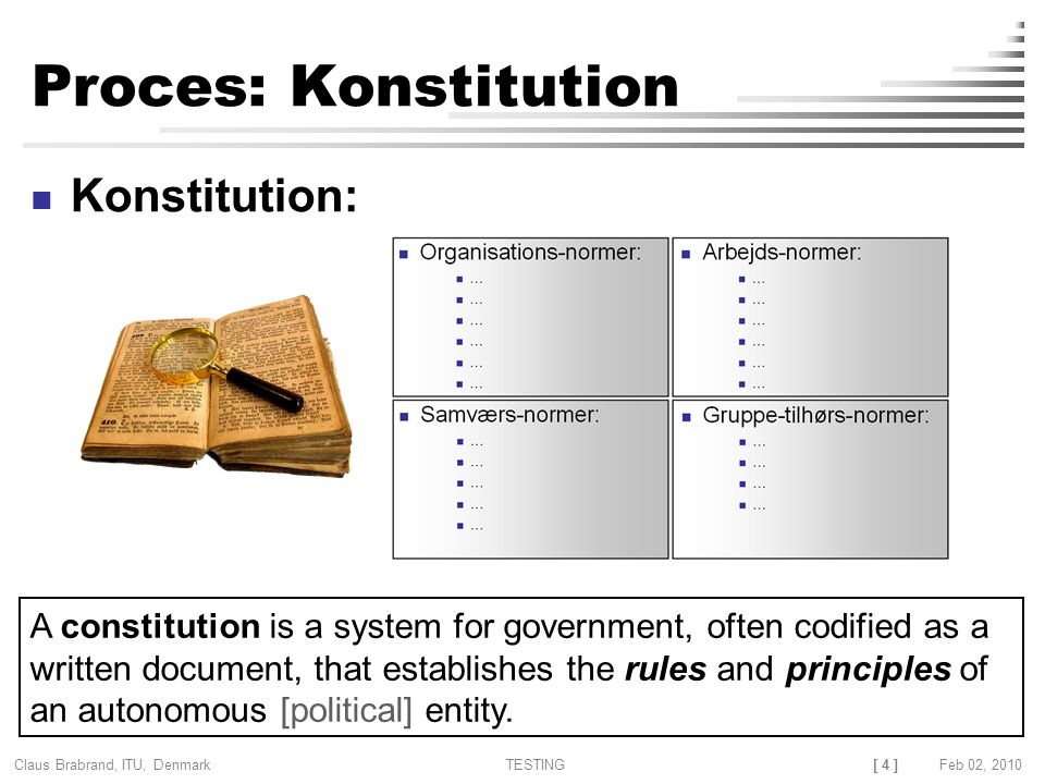 [ 4 ] Claus Brabrand, ITU, Denmark TESTINGFeb 02, 2010 Proces: Konstitution Konstitution: A constitution is a system for government, often codified as a written document, that establishes the rules and principles of an autonomous [political] entity.