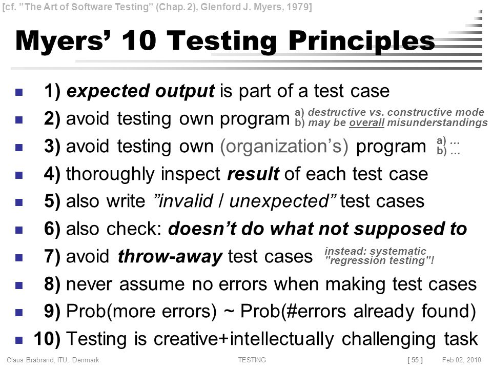 [ 55 ] Claus Brabrand, ITU, Denmark TESTINGFeb 02, 2010 Myers' 10 Testing Principles 1) expected output is part of a test case 2) avoid testing own program 3) avoid testing own (organization's) program 4) thoroughly inspect result of each test case 5) also write invalid / unexpected test cases 6) also check: doesn't do what not supposed to 7) avoid throw-away test cases 8) never assume no errors when making test cases 9) Prob(more errors) ~ Prob(#errors already found) 10) Testing is creative+intellectually challenging task [cf.