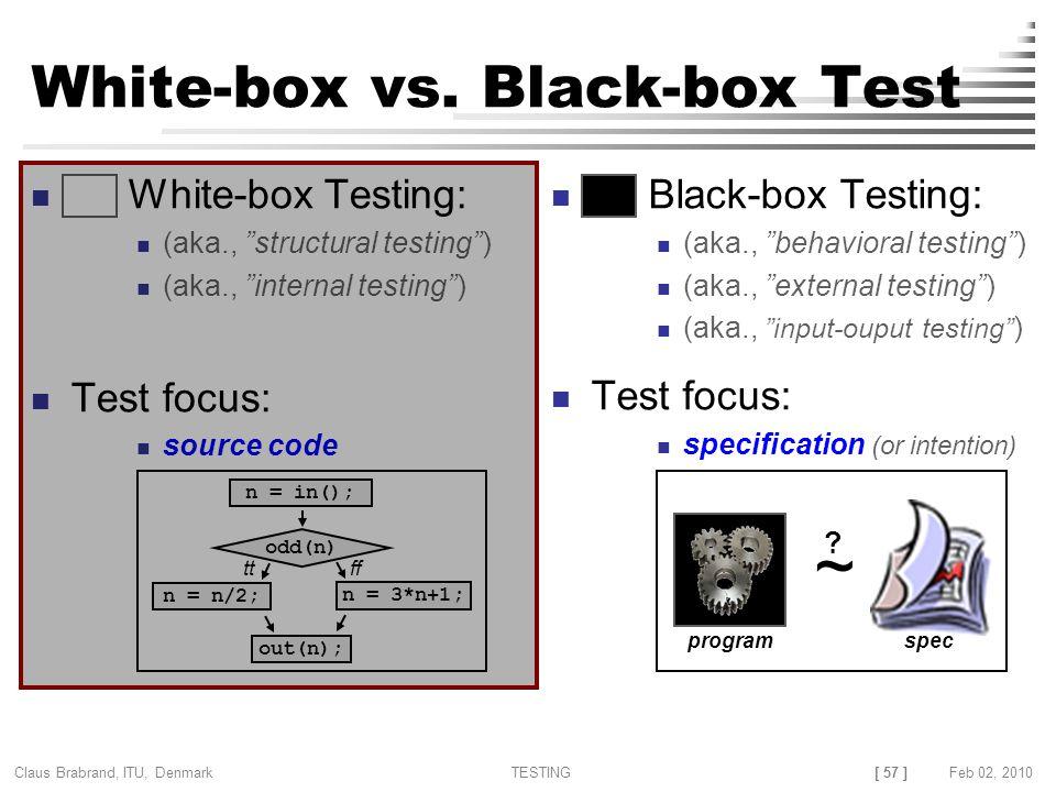 [ 57 ] Claus Brabrand, ITU, Denmark TESTINGFeb 02, 2010 White-box vs.