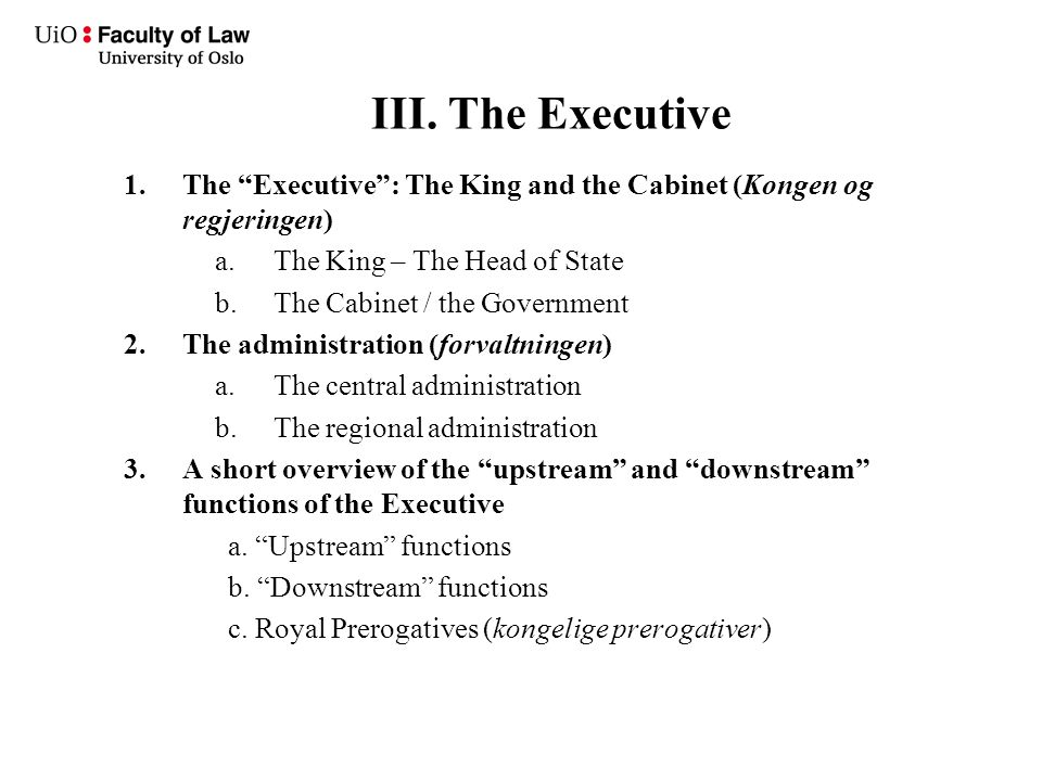 "III. The Executive 1.The ""Executive"": The King and the Cabinet (Kongen og regjeringen) a.The King – The Head of State b.The Cabinet / the Government 2"