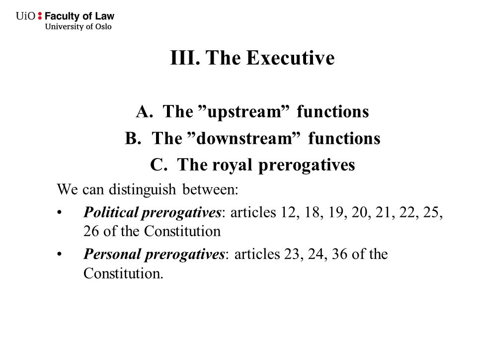 "III. The Executive A.The ""upstream"" functions B.The ""downstream"" functions C.The royal prerogatives We can distinguish between: Political prerogatives"