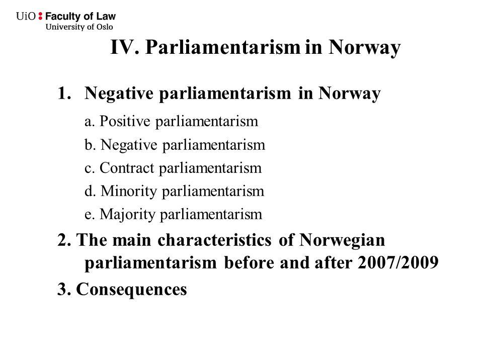 IV. Parliamentarism in Norway 1.Negative parliamentarism in Norway a.