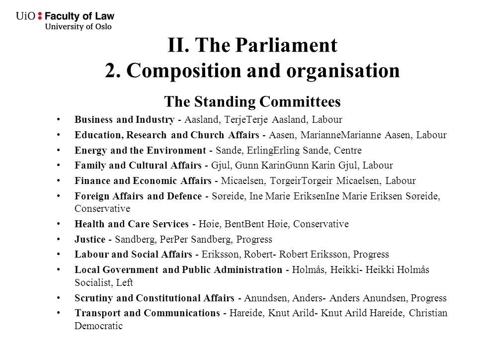 II. The Parliament 2. Composition and organisation The Standing Committees Business and Industry - Aasland, TerjeTerje Aasland, Labour Education, Rese