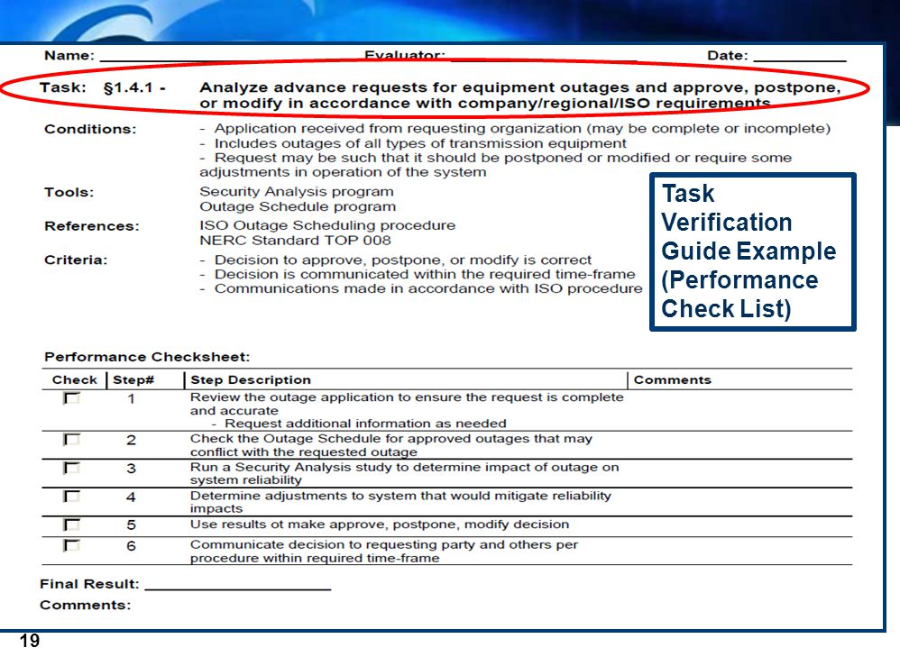 2012 System Operator Conference 19 Task Verification Guide Example (Performance Check List)