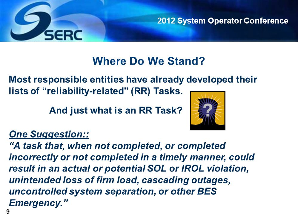 2012 System Operator Conference 10 Example of BA RR Task: Monitor ACE and respond to loss of supply or DCS event by applying operating reserves within allowable time frames If reserves are not applied in a timely manner following loss of generation, the reliability of the Bulk Electric System is at risk!