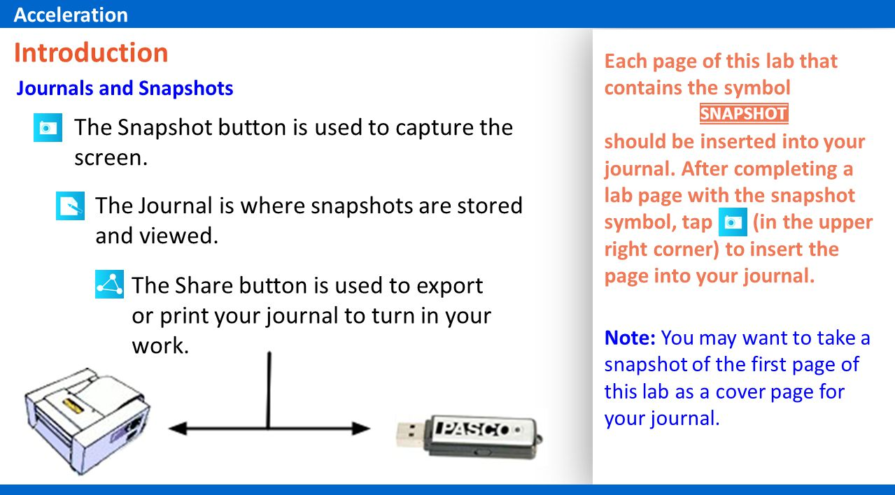 The Snapshot button is used to capture the screen. The Journal is where snapshots are stored and viewed. The Share button is used to export or print y