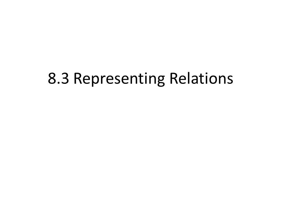 8.3 Representing Relations