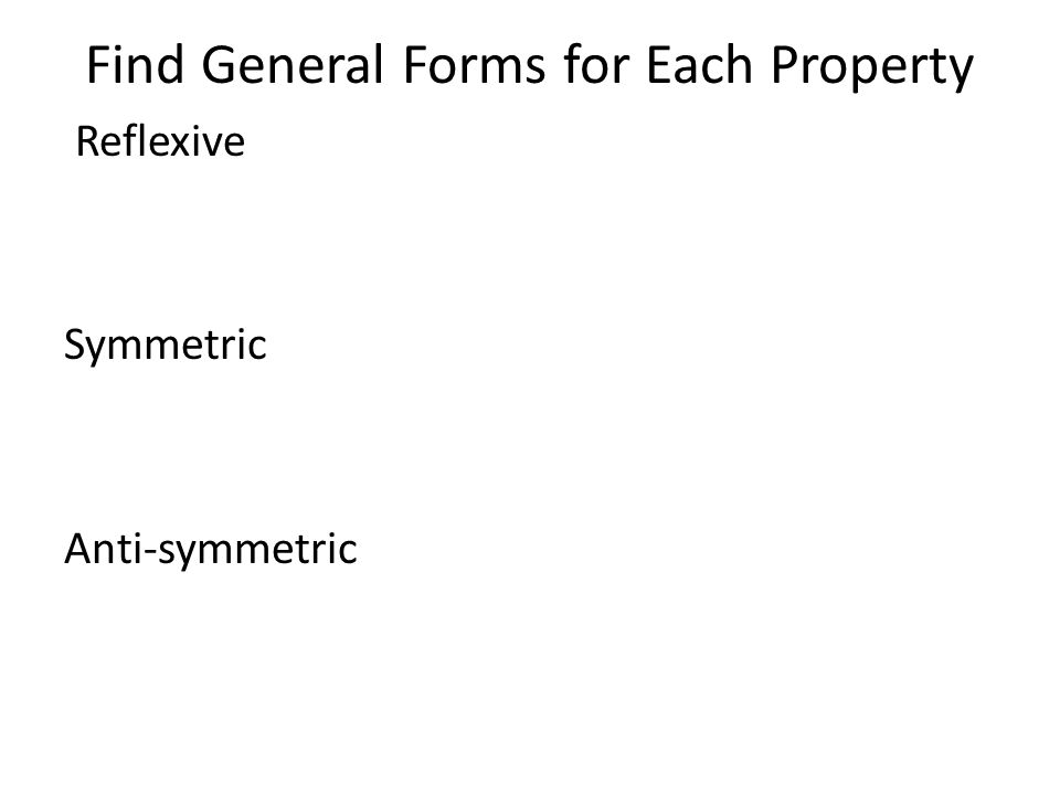 Find General Forms for Each Property Reflexive Symmetric Anti-symmetric