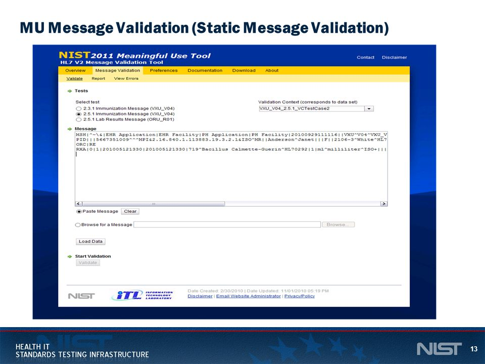 13 MU Message Validation (Static Message Validation)