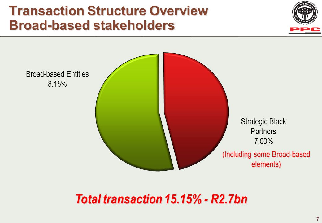7 Transaction Structure Overview Broad-based stakeholders Total transaction 15.15% - R2.7bn Broad-based Entities 8.15% Strategic Black Partners 7.00% (Including some Broad-based elements)