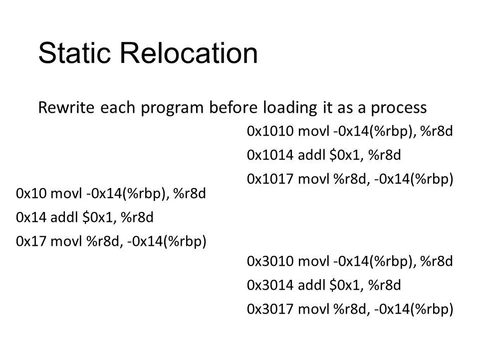 Static Relocation 0x10 movl -0x14(%rbp), %r8d 0x14 addl $0x1, %r8d 0x17 movl %r8d, -0x14(%rbp) Rewrite each program before loading it as a process 0x1010 movl -0x14(%rbp), %r8d 0x1014 addl $0x1, %r8d 0x1017 movl %r8d, -0x14(%rbp) 0x3010 movl -0x14(%rbp), %r8d 0x3014 addl $0x1, %r8d 0x3017 movl %r8d, -0x14(%rbp)