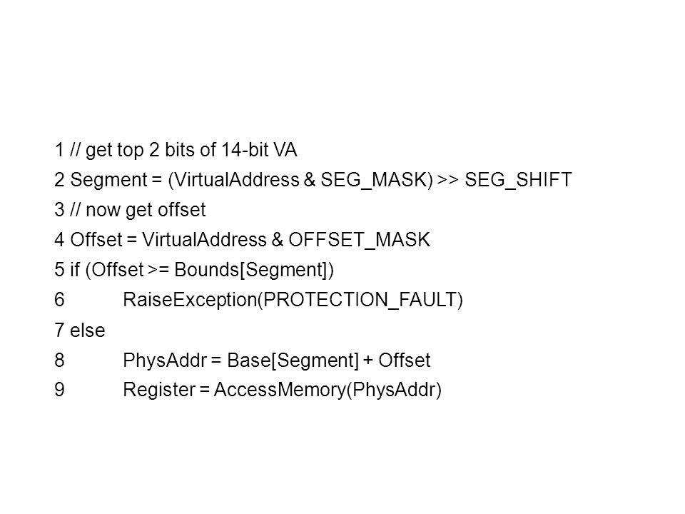 1 // get top 2 bits of 14-bit VA 2 Segment = (VirtualAddress & SEG_MASK) >> SEG_SHIFT 3 // now get offset 4 Offset = VirtualAddress & OFFSET_MASK 5 if (Offset >= Bounds[Segment]) 6 RaiseException(PROTECTION_FAULT) 7 else 8 PhysAddr = Base[Segment] + Offset 9 Register = AccessMemory(PhysAddr)