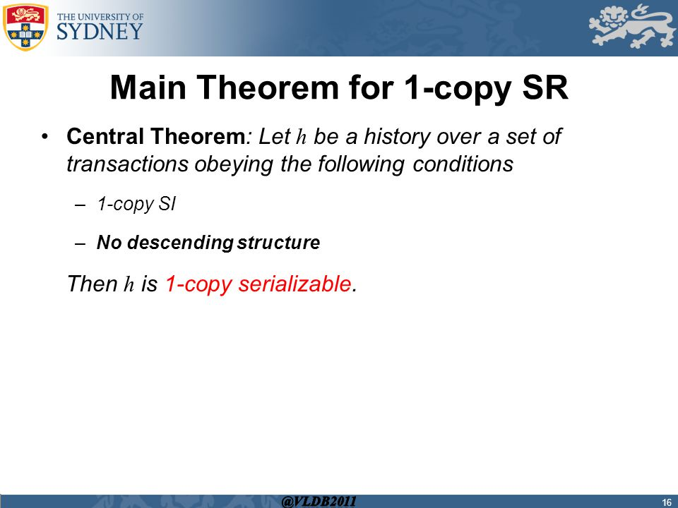 Main Theorem for 1-copy SR 16 Central Theorem: Let h be a history over a set of transactions obeying the following conditions –1-copy SI –No descending structure Then h is 1-copy serializable.