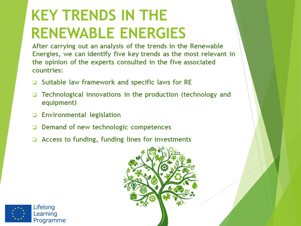 KEY TRENDS IN THE RENEWABLE ENERGIES After carrying out an analysis of the trends in the Renewable Energies, we can identify five key trends as the most relevant in the opinion of the experts consulted in the five associated countries:  Suitable law framework and specific laws for RE  Technological innovations in the production (technology and equipment)  Environmental legislation  Demand of new technologic competences  Access to funding, funding lines for investments