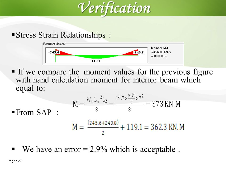 Page  22Verification  Stress Strain Relationships :  If we compare the moment values for the previous figure with hand calculation moment for inter