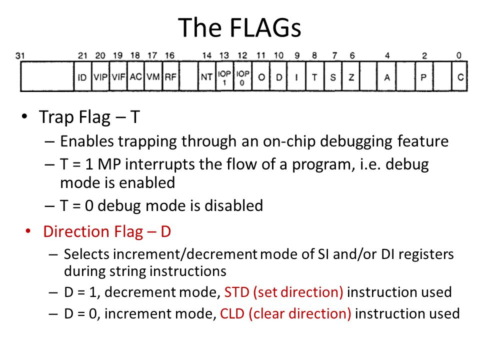 The FLAGs Trap Flag – T – Enables trapping through an on-chip debugging feature – T = 1 MP interrupts the flow of a program, i.e.