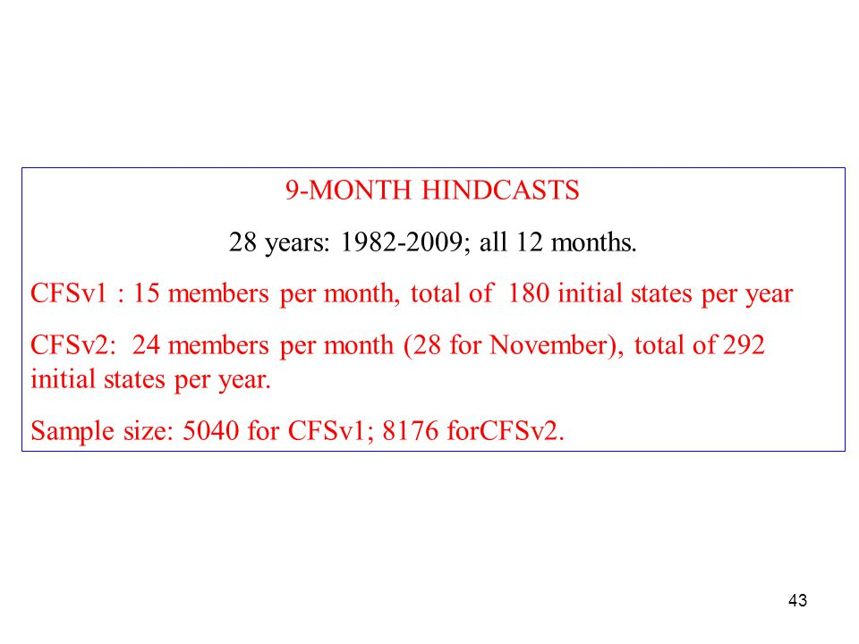 9-MONTH HINDCASTS 28 years: 1982-2009; all 12 months.