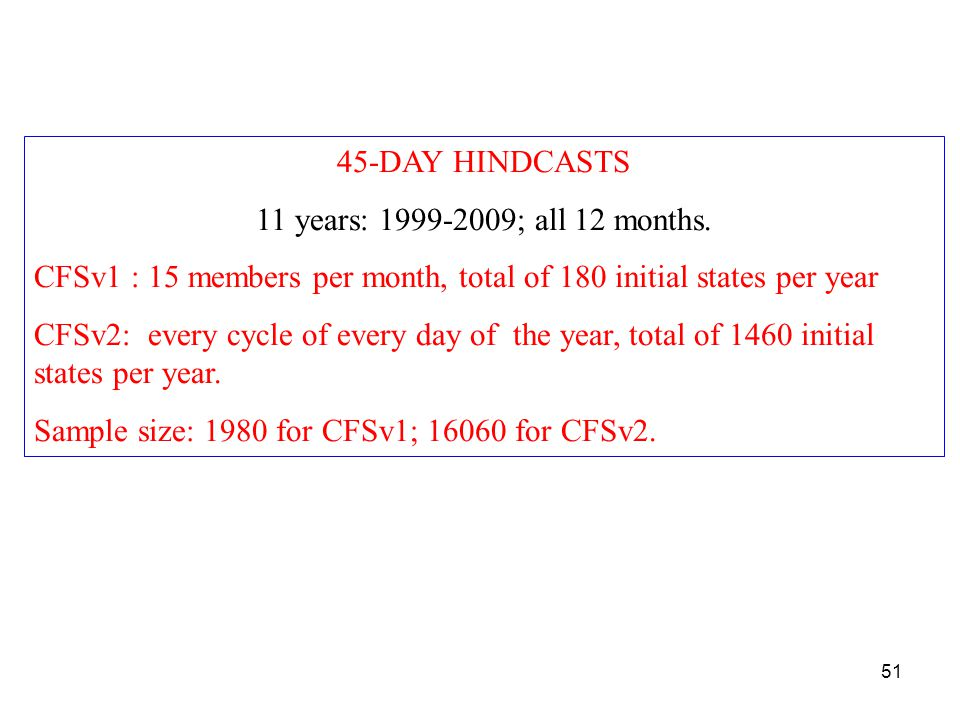 45-DAY HINDCASTS 11 years: 1999-2009; all 12 months.