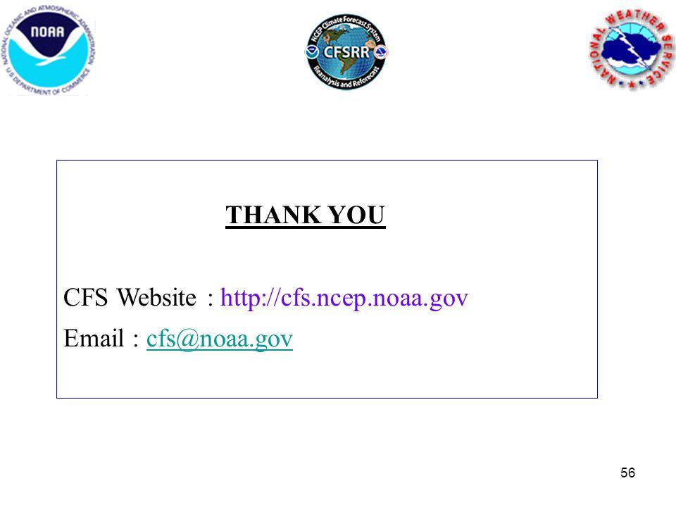 THANK YOU CFS Website : http://cfs.ncep.noaa.gov Email : cfs@noaa.govcfs@noaa.gov 56