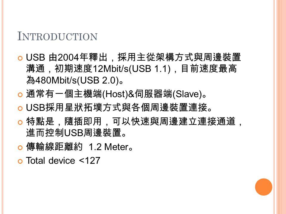 I NTRODUCTION USB 由 2004 年釋出,採用主從架構方式與周邊裝置 溝通,初期速度 12Mbit/s(USB 1.1) ,目前速度最高 為 480Mbit/s(USB 2.0) 。 通常有一個主機端 (Host)& 伺服器端 (Slave) 。 USB 採用星狀拓墣方式與各個周邊裝置連接。 特點是,隨插即用,可以快速與周邊建立連接通道, 進而控制 USB 周邊裝置。 傳輸線距離約 1.2 Meter 。 Total device <127
