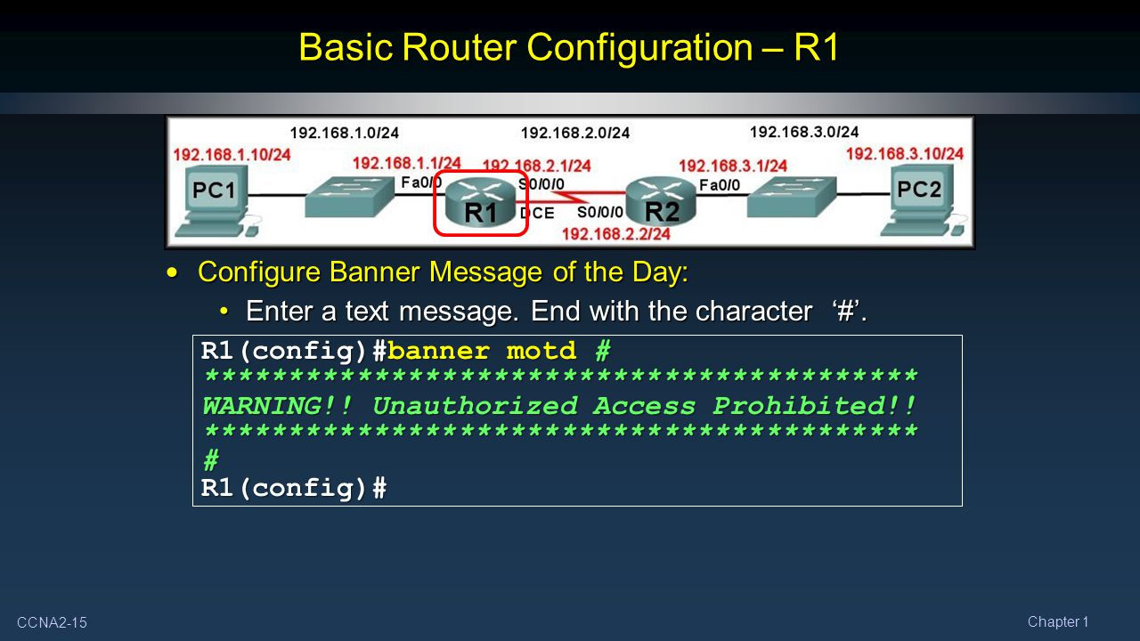 CCNA2-15 Chapter 1 Basic Router Configuration – R1 Configure Banner Message of the Day: Configure Banner Message of the Day: Enter a text message.
