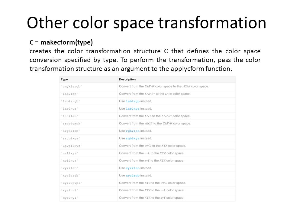 Other color space transformation C = makecform(type) creates the color transformation structure C that defines the color space conversion specified by