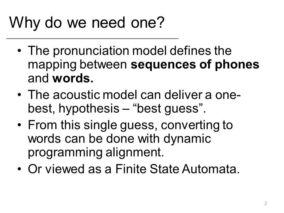 Simplest Pronunciation model A dictionary.