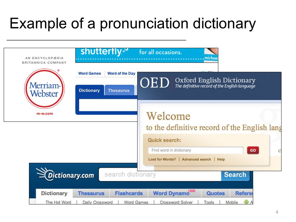 Example of a pronunciation dictionary 4