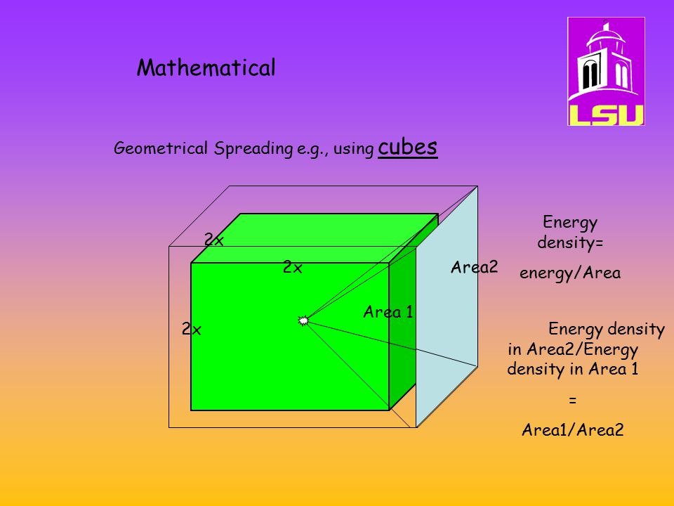 Mathematical Geometrical Spreading e.g., using cubes 2x Energy density= energy/Area Area2 Area 1 Energy density in Area2/Energy density in Area 1 = Area1/Area2 2x
