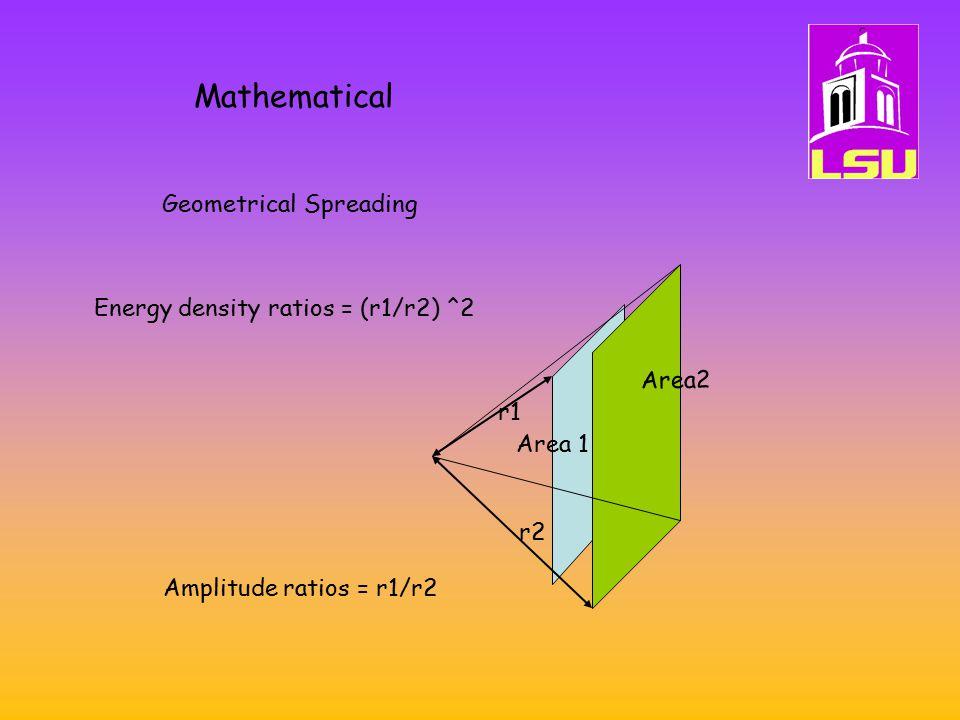 Mathematical Geometrical Spreading r2 Energy density ratios = (r1/r2) ^2 Area2 Area 1 r1 Amplitude ratios = r1/r2