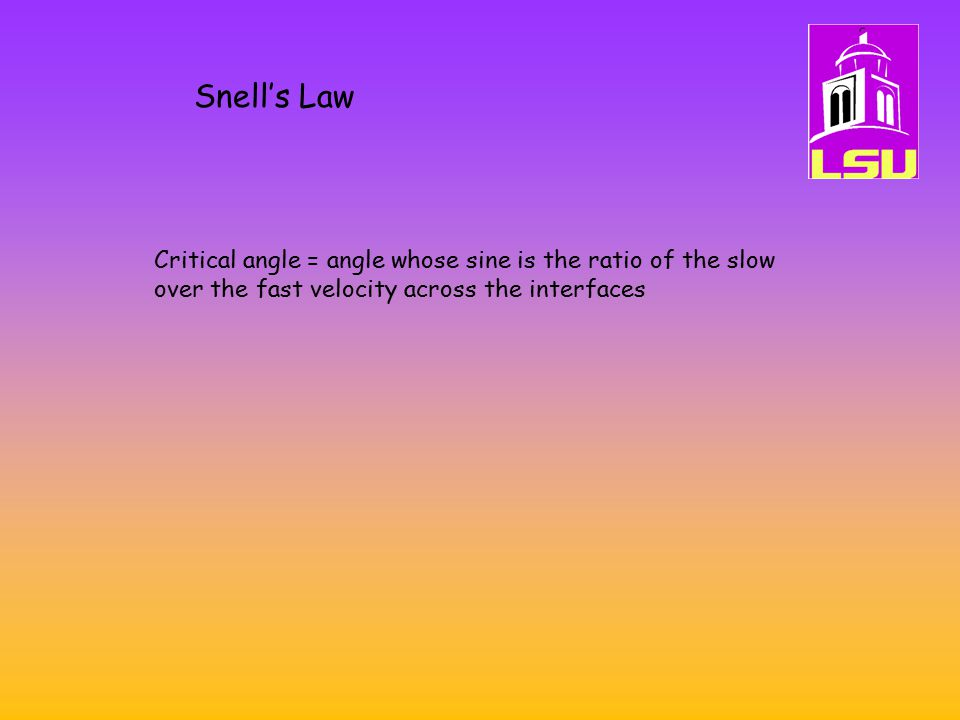 Snell's Law Critical angle = angle whose sine is the ratio of the slow over the fast velocity across the interfaces