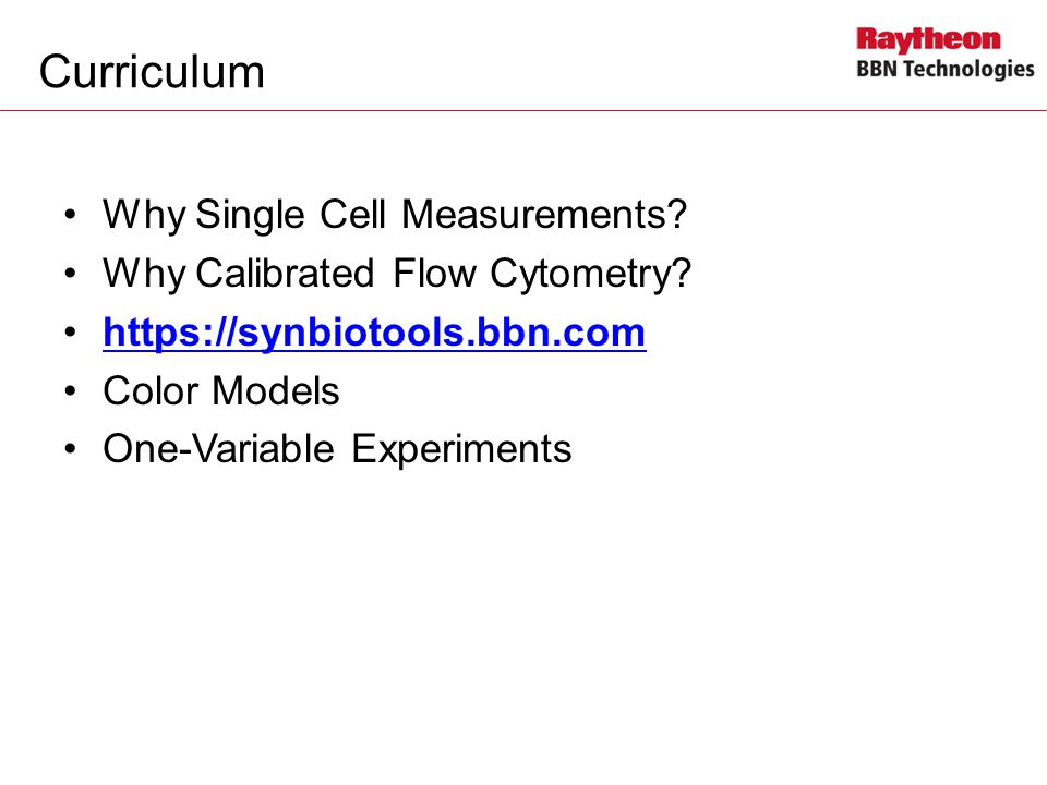 Curriculum Why Single Cell Measurements.Why Calibrated Flow Cytometry.
