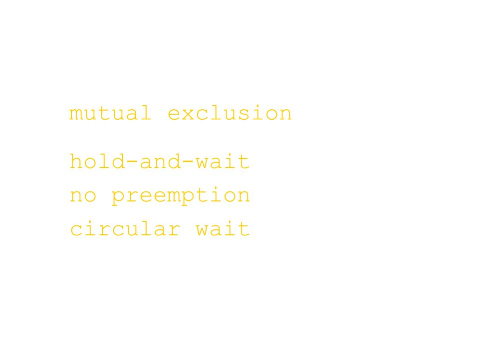 mutual exclusion hold-and-wait no preemption circular wait
