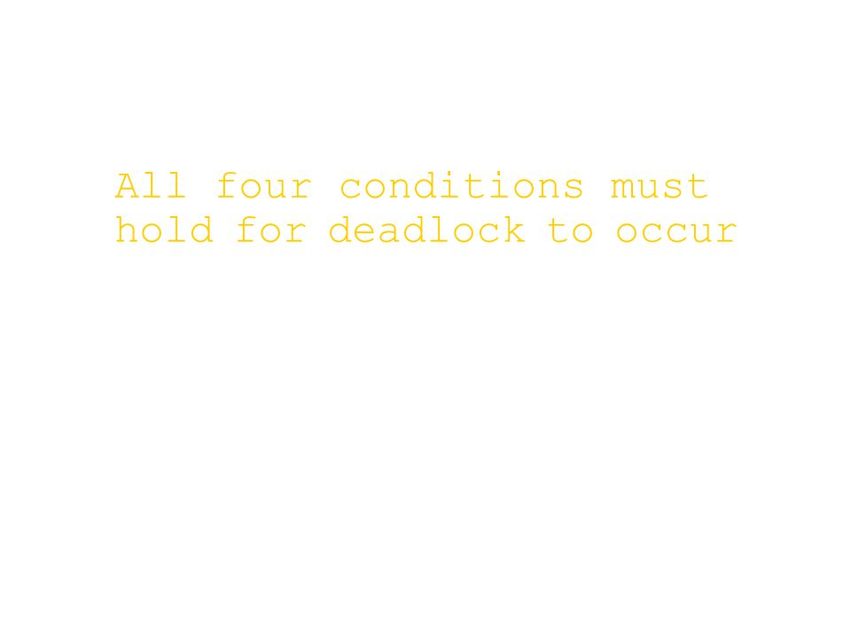 All four conditions must hold for deadlock to occur
